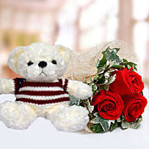 Red Roses and White Teddy Combo: Soft Toys to UAE