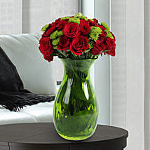 Roses N Chrysanthemums Vase Arrangement: New Arrival Gifts to UAE