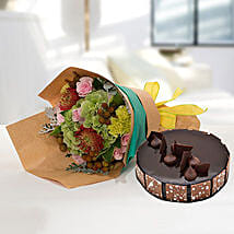 Royal Flower Bouquet With Chocolate Fudge Cake: Anniversary Flowers N Cakes to UAE