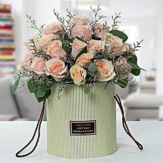 Serene Peach Roses Arrangement: Flower Arrangements to UAE