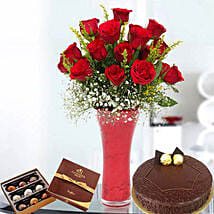 Warm Wishes Combo: Anniversary Flowers and Cakes to UAE