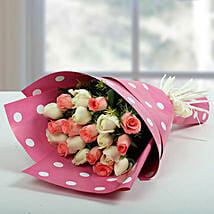 White N Pink Roses Bunch: Valentine's Day Flowers to UAE