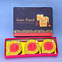 3 Colorful Diya N Soan Papdi: Diwali Gift Delivery in UK