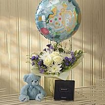 Blue Lullaby Balloon Teddy and Chocolates Gift Set: Birthday Gifts to London