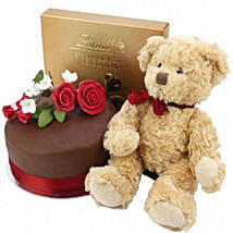 Chocolate Rose Cake With Bear And Lindt: Valentine Cake Delivery in UK