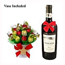 Classic Christmas Sweet Bouquet with Red Wine: Christmas Gift Hampers to UK
