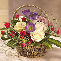 Colorful Flower Basket: Send Gifts to Leeds