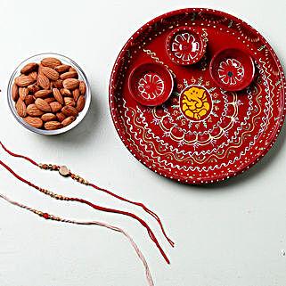 Dry Fruit Rakhi Set Pooja Thali Hamper: Set of 3 Rakhi to UK