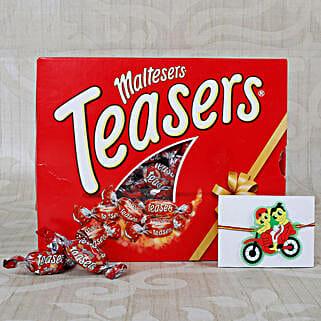 Ganesha Bike Ride kids rakhi with Maltesers Chocolates: Send Rakhi With Chocolates to UK