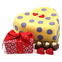 Hearts And Dots Cake Gift: Order Cakes to UK