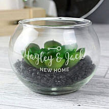 Personalised New Home Glass Terrarium: Mothers Day Gift to UK