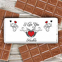 Personalized Red Heart Milk Chocolate Bar: Personalised Gifts UK