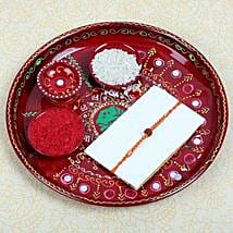 Puja thali with Rudraksh Rakhi: Send Rakhi to Glasgow