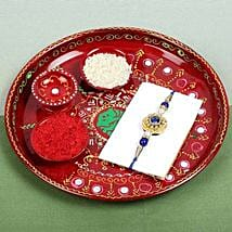 PujaThali with Rajwadi Rakhi: Send Rakhi for Brother in Uk