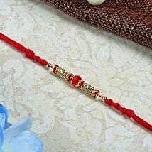 Red moti with diamond thread: Rakhi for Brother - UK