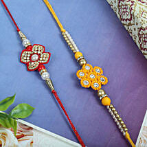 Red yellow Flower set: Rakhi for Brother - UK