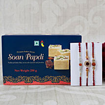 Rudraksha Rakhi Set with Soan Papdi: Rakhi to Leeds