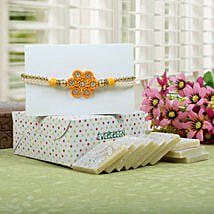 Sparkling Rakhi with Kaju Katli: Send Rakhi for Brother in Uk
