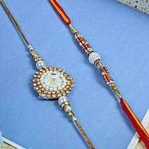 Stunning white moti rakhi set: Send Rakhi for Brother in Uk