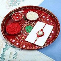 Traditionl Red Diamond Rakhi PujaThali Set: Rakhi to Glasgow