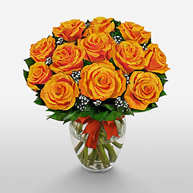 12 Long Stem Orange Roses