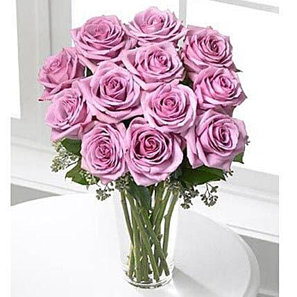 12 Long Stem Roses Lavender