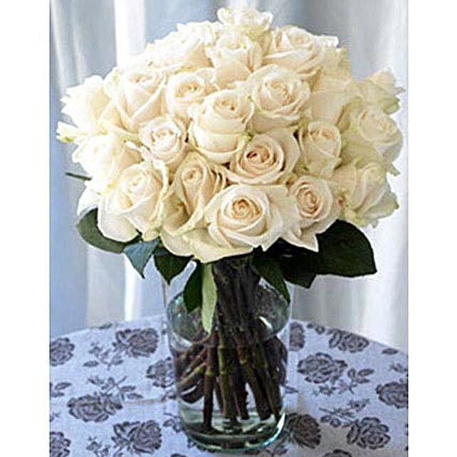 25 Long Stem White Roses