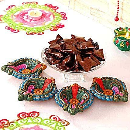 Colourful Clay Diyas N Espresso Candies