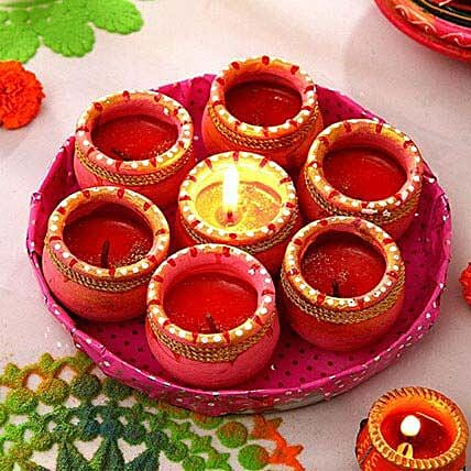 Decorative Painted Clay Diyas in Tray