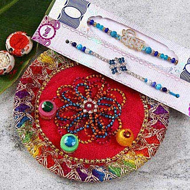 Designer Beads Rakhi Set With Puja Thali