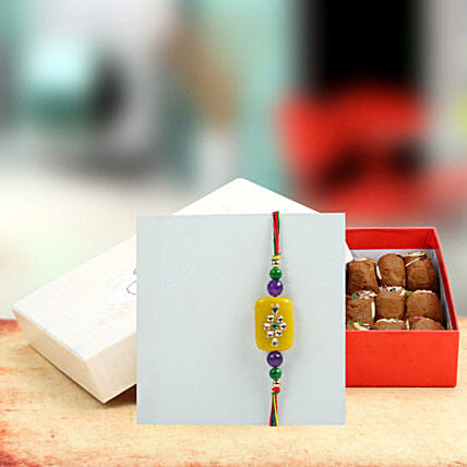 Designer Stone Rakhi with Assorted Peda