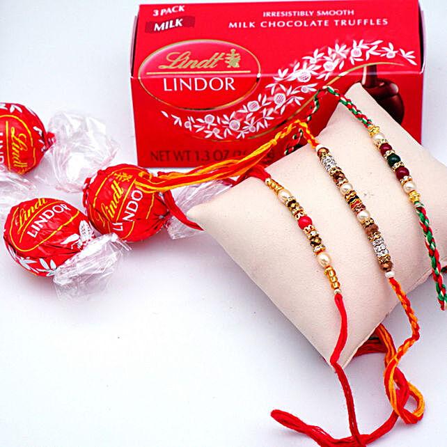 Elegant Rakhi Set with Lindor Milk Truffles Pack