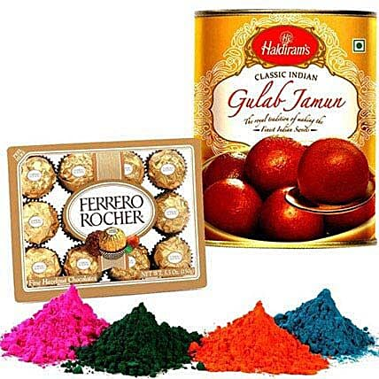 Gulab Jamun with Holi Colors and Ferrero Rocher