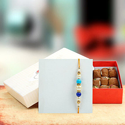 Multy Color Pearl Rakhi with Assorted Peda
