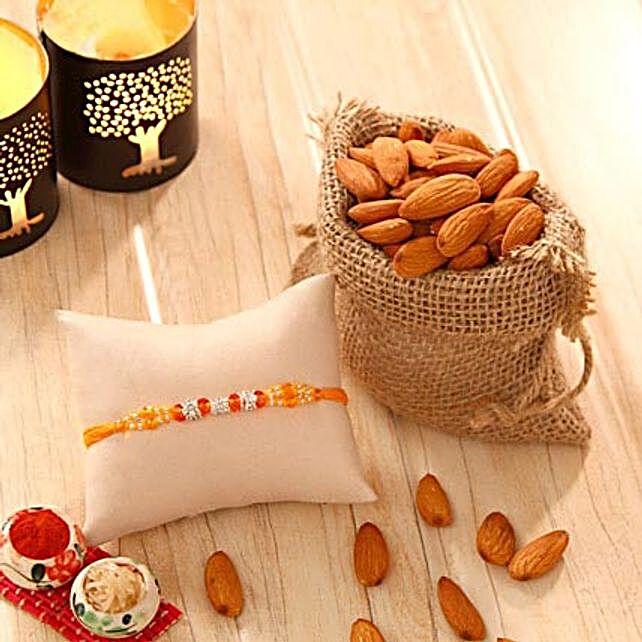 Orange Stone bead Rakhi with Almonds
