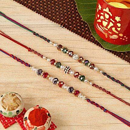 Three Pearl Beaded Rakhi Set
