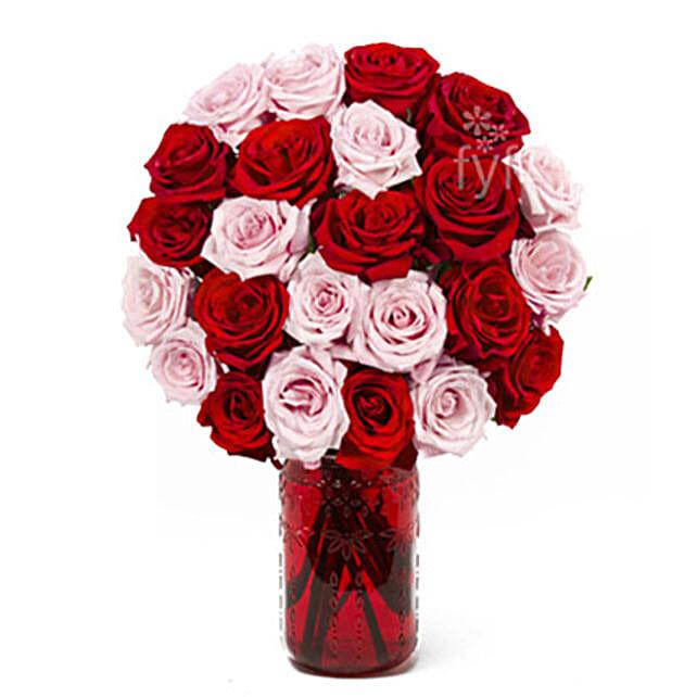 Vase Arrangement Of 24 Red N Pink Roses