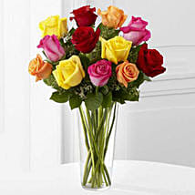 12 Bright Roses Arranged: Valentine's Day Rose Delivery in USA