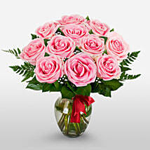 12 Long Stem Pink Roses: Valentine's Day Gift Delivery in Columbus
