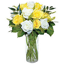12 Long Stem Yellow and White Roses: Send Roses to USA