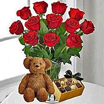 12 Red Roses Chocolates and Bear: Roses