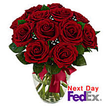 12 stem Red Rose Bouquet: Valentine Gifts to Jersey City