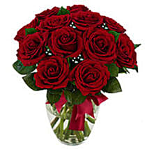 12 stem Red Rose Bouquet: Send Birthday Gifts to Boston