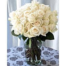 25 Long Stem White Roses: Send Gifts to San Jose
