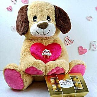 Adorable Puppy N Ferrero Chocolates: Chocolates for Birthday