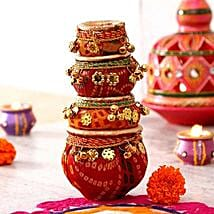Amazing Lace Work Clay Diyas Set: Send Diwali Gifts to USA