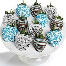 Baby Boy Chocolate Covered Strawberries 12 Pieces: Mothers Day Gifts to USA