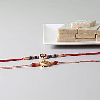 Beads Embellished Rakhis With Kaju Katli: Send Set of 2 Rakhi to USA
