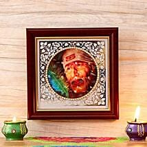 Beautiful Sai Baba Wooden Frame: Send Diwali Gifts to USA