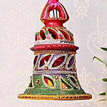 Bell Shaped Painted Clay Lamp: Send Diwali Gifts to USA